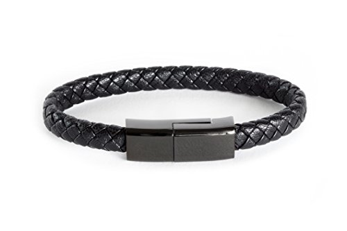 Dzzkoye USB Charging Cable Bracelet Portable Leather Charger Cord for iPhone iPad, iPod, Air Pods (Black L)