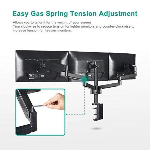 EleTab Triple Monitor Stand Mount - Full Motion Swivel 3 Monitor Desk Mount Stand Articulating Gas Spring Arms Fits Computer Screens 13 to 27 i   nches, Each Arm Holds up to 17.6 lbs
