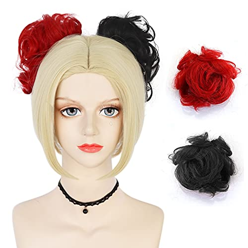 ANOGOL Wig Cap+Black and Blonde Wig with Bun for Women Short Red Wig for Girls Short Curly Cosplay Wig