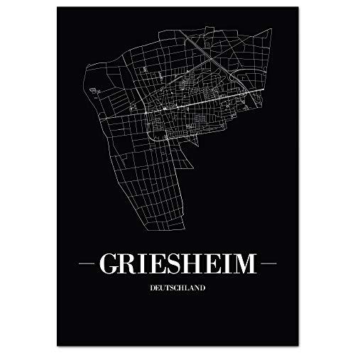 JUNIWORDS Stadtposter - Wähle Deine Stadt - Griesheim - 40 x 60 cm Poster - Schrift A - Schwarz