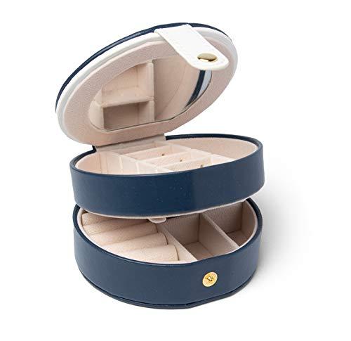KARMEAN Schmuckkästchen, kleine Kosmetikbox mit 2 Ebenen, flexible Trennstege, Verschluss und Spiegel. Geschenk für Frauen, Damen, Freundin, Mama