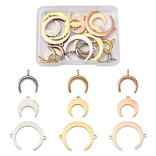 Beadthoven, 18 ciondoli a forma di luna a mezzaluna vuota, con ciondoli a 3 stili, in acciaio inox, a doppio corno per gioielli, 3 colori