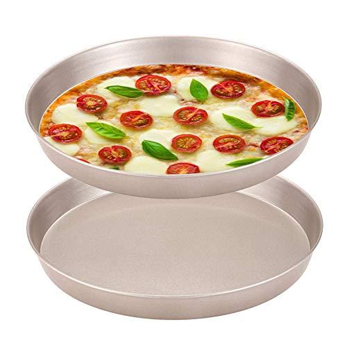 JAHEMU Pizzablech Rund Cake Pan 8 inch Kohlenstoffstahl Pizzaform Pizza Backblech zum Backen im Ofen, Pizzapfanne Pizza Pan für Pizza, Flammkuchen, Kuchen, 2er Set