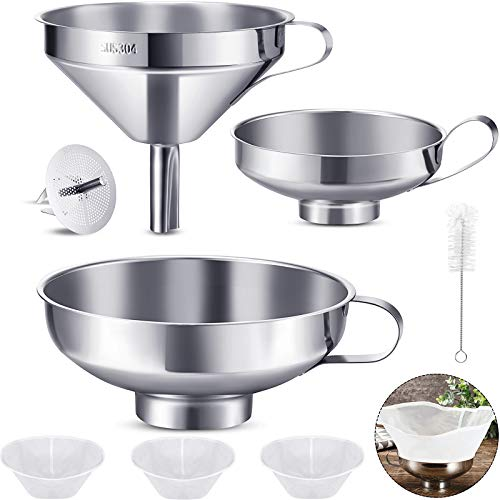 8 Pieces Canning Funnel Set Stainless Steel Funnel Wide Mouth Jar Funnel, 120 160 200 Mesh Food Filter, Stainless Steel Food Filter Strainer, Cleaning Brush for Liquid Spice Powder Oils