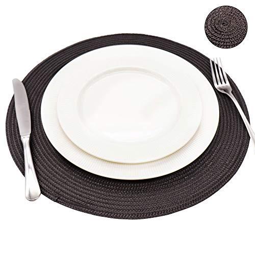 INTERLINK ELECTRONICS Tovagliette jacquard intrecciata rotondo antiscivolo tovagliette tavolo pranzo stuoie nuovo (marrone, 4 pcs)