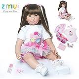 ZIYIUI Reborn Babys Mädchen 24 Zoll 60cm Lebensecht Reborn Puppen Kleinkind Weiches Vinyl Silikon Neugeborenes Handgemacht Baby Spielzeug Geschenk