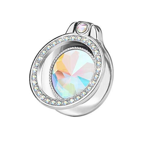 lenoup Soporte de anillo de teléfono brillante con purpurina, anillo de teléfono brillante, anillo de diamante artificial, anillo de dedo para teléfono celular, almohadilla (plata)