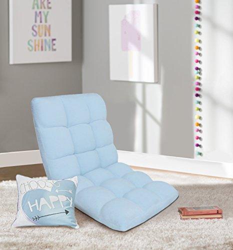 Chic Home RC64-26BL-N1-WT Lounge Adjustable Recliner Rocker Memory Foam Armless Floor Gaming Ergonomic Chair, Blue