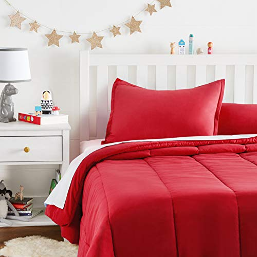 AmazonBasics Juego de edredón, microfibra suave y fácil de lavar, infantil, matrimonial/queen, rojo