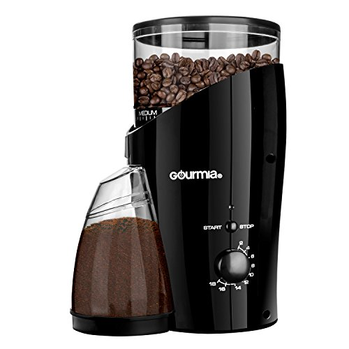 Gourmia GCG185 Electric Burr Coffee Grinder - Heavy Duty Steel Grinding Disc - Removable Bean Hopper & Cup - 20 Grind Size Settings - 2-18 Cup Selection - 150W - Black