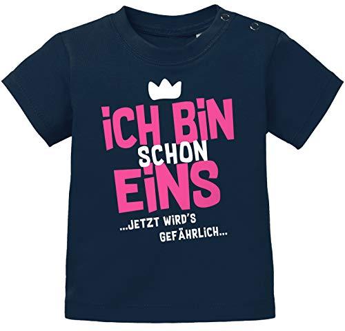 MoonWorks® Baby T-Shirt 1. Geburtstag Spruch Ich Bin Schon 1 jetzt wird's gefährlich Geburtstagsshirt Bio-Baumwolle Navy-pink 80/86 (10-15 Monate)