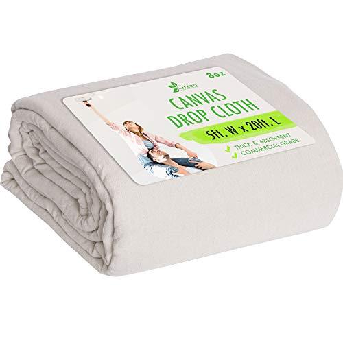 5 X 20 Canvas Drop Cloth Tarp Canvas Fabric Drop Cloth Curtains Drop Cloths for Painting Painters Drop Cloth Paint Drop Cloth Paint Tarp Painting Supplies Canvas Sheet