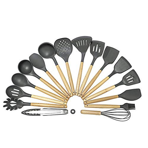 Juego de utensilios de cocina 16 piezas de mango de madera de silicona cocina espátula cuchara cuchara creativa herramienta de cocina creativa conjunto de utensilios de cocina para sartén antiadherent