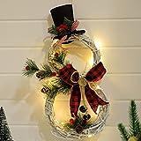 IYSHOUGONG 1 guirnalda de Navidad con muñeco de nieve luz de Navidad corona de muñeco de nieve decoración de muñeco de nieve guirnalda de luces LED para fiestas vacaciones Navidad