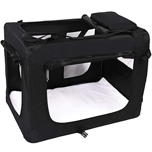 MC Star Tragbare Hundebox Faltbare Transportbox aus Oxford Gewebe Wasserabweisend für Haustiere L: 70x52x52cm Schwarz