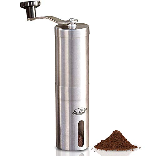 JavaPresse Manual Coffee Grinder with Adjustable Setting - Conical Burr Mill & Brushed Stainless Steel Whole Bean Burr Coffee...