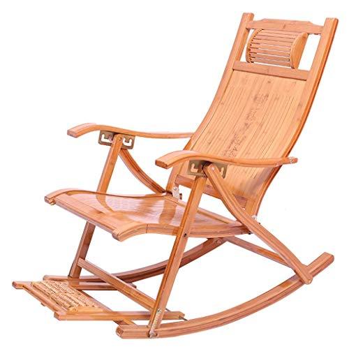 WJJJ Silla de Mecedora de bambú Ajustable Silla reclinable Impermeable reclinable Sillas de Patio p