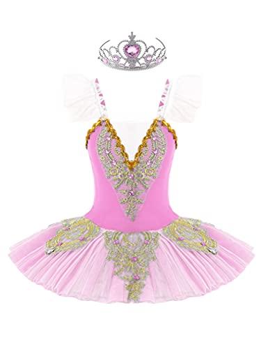 Freebily Vestido de Fiesta Ballet para Niña Maillot de Ballet Danza con Flor de Lentejuelas para Niña (4-12 años) Tutú Infantil + Guantes + Clip Rosa D 11-12 años