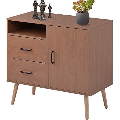 Aparador moderno con 2 cajones y una puerta, aparador con estantes para cocina, sala de estar, dormitorio, pasillo, unidad de madera