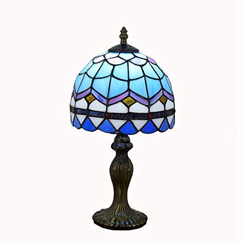 Lámpara de mesa de estilo tiffany 8 pulgadas simple azul europea mediterránea creativa Tiffany dormitorio de cristal de la lámpara de cabecera Tabla pequeñas lámparas