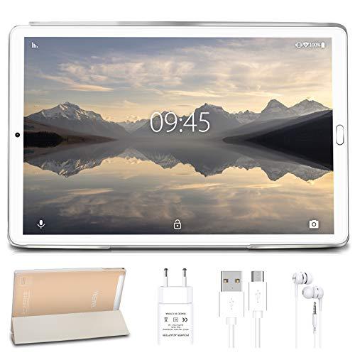 Tablet 10 Pollici con Wifi Offerte Tablet PC LTE Dual SIM/WiFi tablet Android 9.0 con 3GB di RAM e 32GB ROM(Sblocco Facciale)-(Senza tastiera)Oro