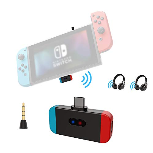 Friencity Bluetooth Audio Transmitter Adapter for Nintendo Switch PS4, USB Type C Connector Low Latency, Support in-Game Voice& Two Headphones, Compatible with Airpods Bose Sony Headphone, Plug& Play