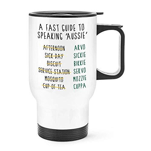 Grappig een snelle gids om te spreken Aussie Australië reismok thermisch geïsoleerde roestvrijstalen koffiemok Gift Idee, 14 Oz