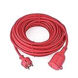 Gummi Verlängerungskabel IP44 H07RN-F 3G 1,5 mm² Außenkabel mit Schutzkappe und Kindersicherung, 16A 250V (25M, Rot)
