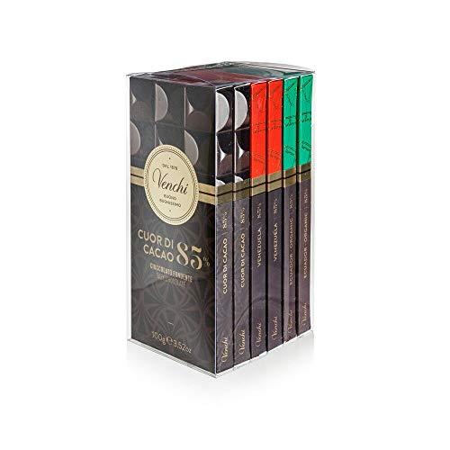 Venchi Kit Degustazione con 6 Tavolette di Cioccolato Fondente 85%, 480g - Cuor di Cacao, Venezuela...