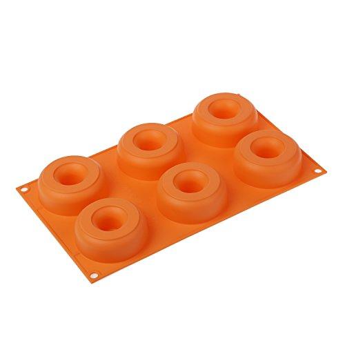 SF170 Molde de Silicona con Forma de Donuts, 6 cavidades, Color Naranja