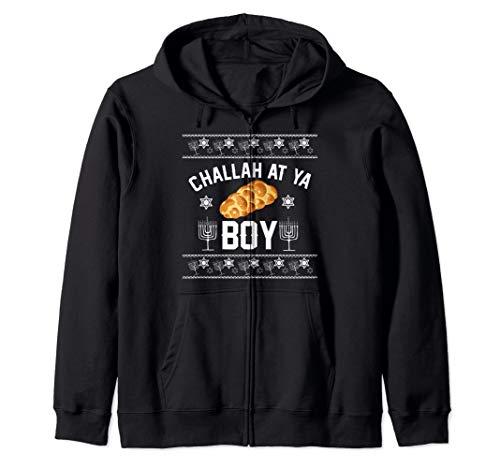 Challah at ya Boy Ugly Sweater funny matching Hanukkah gift Zip Hoodie