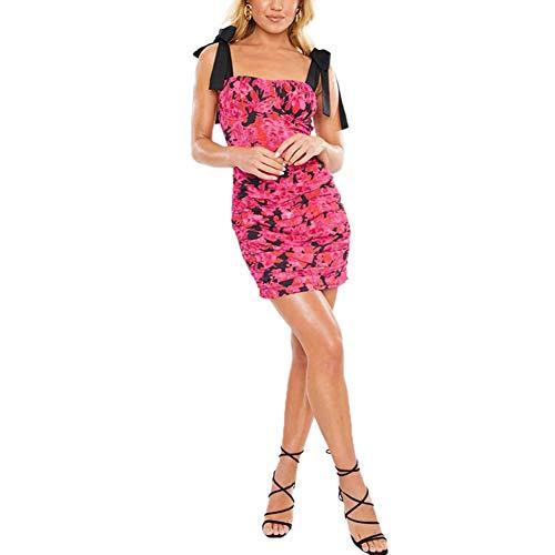 Vestido ajustado con estampado floral corto sin mangas con tirantes con encaje Rosa M