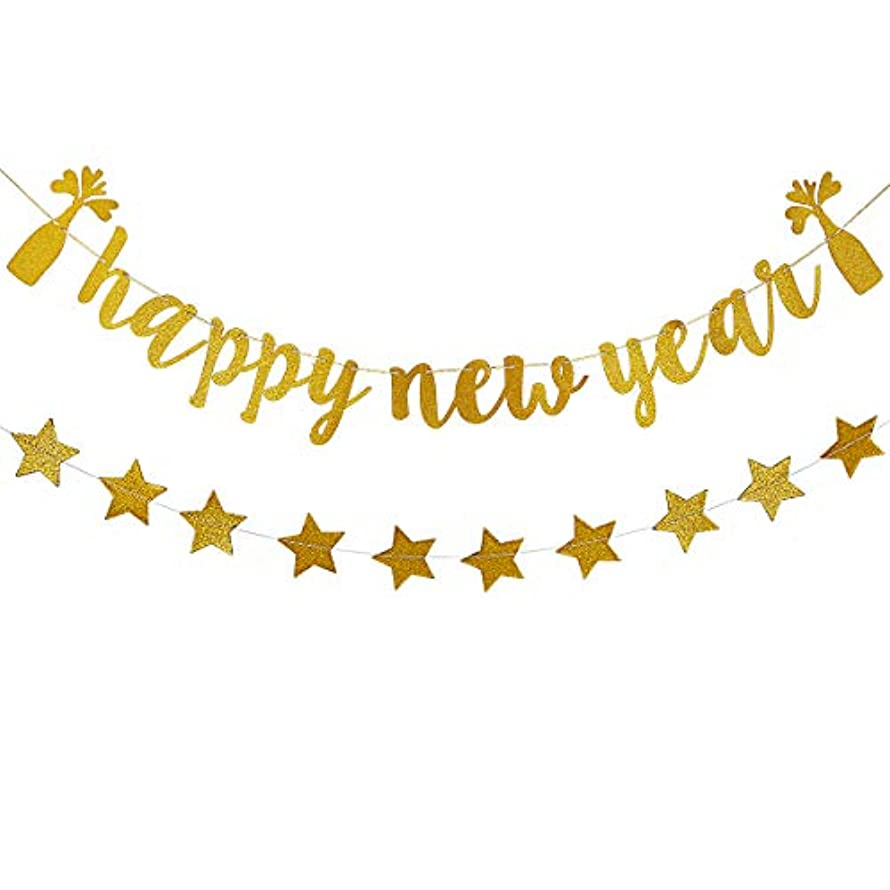 Gold Glittery Happy New Year Banner and Gold Glittery Twinkle Stars Garland (25pcs twinkle stars)- 2019 New Years Eve Holiday Christmas Party Decoration Supplies
