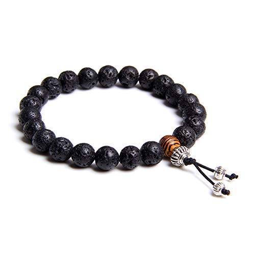 SASCD Pulsera Hombres Joyería Curación Balance Buda Beads Reiki Oración Yoga Madera Negro Onyx Pulseras Regalo (Length : 21cm, Metal Color : Lava Stone)