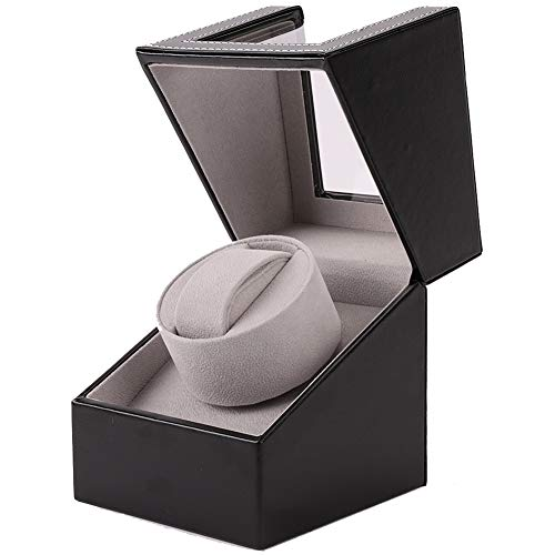 AOKELILY Automatic Single Watch Winder, with Flexible Plush Pillow, in Wood Shell and Black Leather, Japanese Motor, Rotation Mode Setting, for Men and Women Automatic Watch