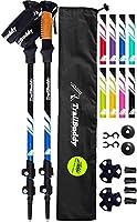 TrailBuddy Lightweight Trekking Poles - 2-pc Pack Adjustable Hiking or Walking Sticks - Strong Aircraft Aluminum - Quick Adjust Flip-Lock - Cork Grip, Padded Strap (Lake Blue)