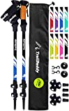 TrailBuddy Lightweight Trekking Poles - 2-pc Pack Adjustable Hiking or Walking Sticks - Strong Aircraft Aluminum - Quick Adjust Flip-Lock - Cork Grip, Padded Strap (Lake Blue)