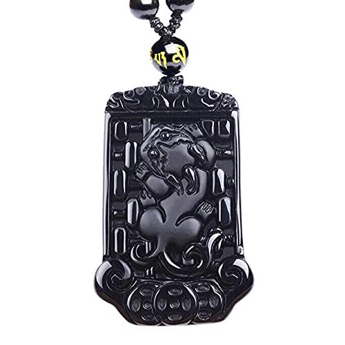 Original obsidiana Pixiu collar colgante de jade Foo colgante de perro colgante de la suerte con cadena de cuentas joyería de jade