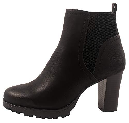 Jumex Damen Stiefeletten Ankle Boots Chunkyrayan 949-GA-Schwarz-39