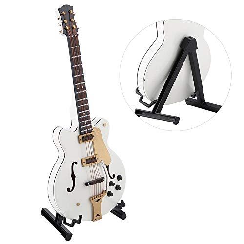 Jadpes Adorno de Guitarra en Blanco, réplica de Guitarra eléctrica en Miniatura Blanca de 5.5 Pulgadas con Caja Modelo de Instrumento Adorno Modelo de casa de muñecas Decoración del ho