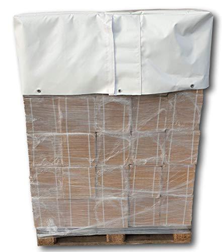 w-mtools® Abdeckplane Gitterbox 120x80x40 Abdeckplane Europalette mit Ösen & extra breitem 2 x Klettverschluss Wasserdichte & Reißfest Gewebeplane - LKW Plane 680g/m² Paletten & Gartenmöbel