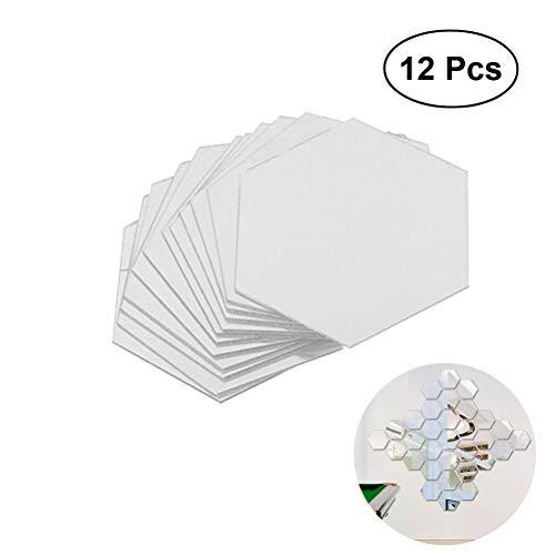 WINOMO mural de espejo acrílicas 3D efecto hexagonal para decorar la pared 8 x 8cm 12 piezas (Plata)