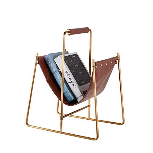QZH Revistero de Cuero marrón Simple para revistas, Estilo Europeo Moderno, decoración del hogar, Caja de revistas (Dorado, Talla única)