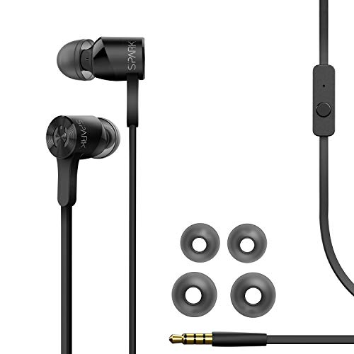 MuveAcoustics Spark Wired in-Ear Headphones - Sports Noise Cancelling Stereo Earbuds with Mic, Black