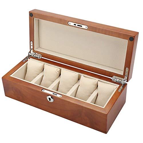 FGDSA Caja de Reloj de Madera, Soporte de exhibición/Juego de Caja/Caja de Almacenamiento para Relojes de joyería, Caja de colección de Pulseras Caja de presentación de Reloj de 5 Rejillas