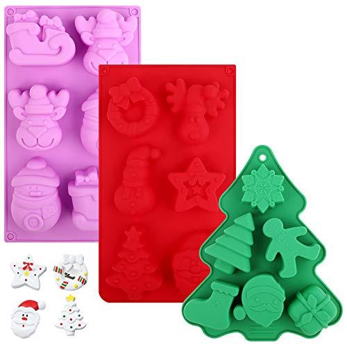 3 pezzi Stampi per caramelle natalizie, Stampi in silicone di Natale Stampi per dolci di Natale Muffin Pan Vassoi da forno al cioccolato Stampo per sapone natalizio per forniture per feste di Natale