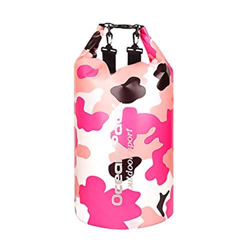 Amorar - Mochila impermeable con correas ajustables, bolsa de playa, bolsa de almacenamiento para artículos al aire libre, para natación, camping, pesca, navegación, kayak, barcos, color rosa, tamaño (15L) UK