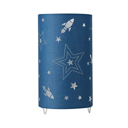 Pauleen 48035 Cute Universe Tischleuchte max. 20W Tischlampe für E14 Lampen Kinderzimmerlampe Sterne Rakete Blau 230V Metall/Stoff ohne Leuchtmittel