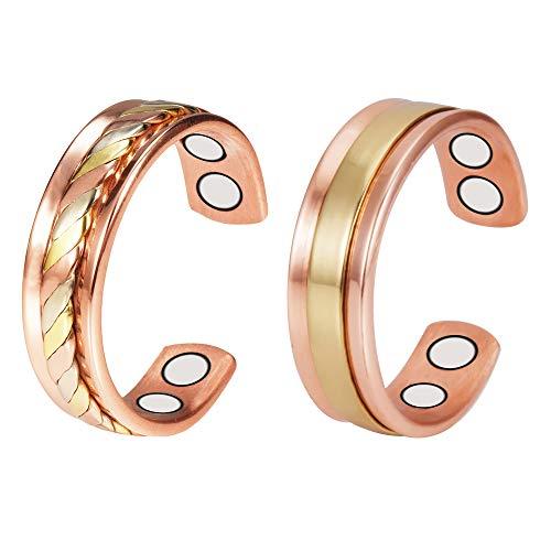 YINOX Paquete de 2 anillos magnéticos de cobre con 4 imanes para hombres antigüedad ajustable alivio del dolor de salud para la artritis