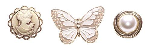 Viejo Es Oro Vintage Girl Cameo esmalte mariposa/Pearl & Oro Broche (NS17)
